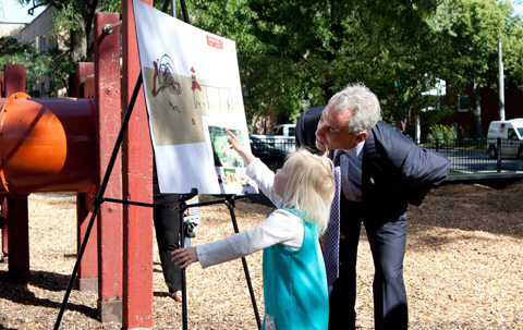 Mayor Emanuel joins Rogers Park  residents at the construction site of a new playground at Touhy Park