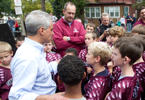 Mayor Rahm Emanuel greets youth  athletes at Ridge Park to highlight what will be a completely rehabilitated  playground as part of the Chicago Plays! Playground Renovation Program